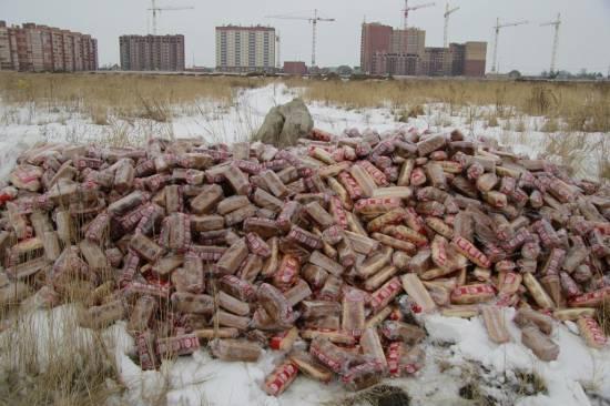 В Рязани в поле была обнаружена гора хлеба в упаковке «Магнит». Видео