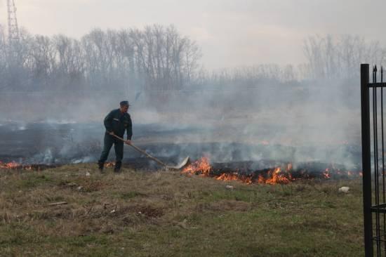 Пожары сухой травы в районе