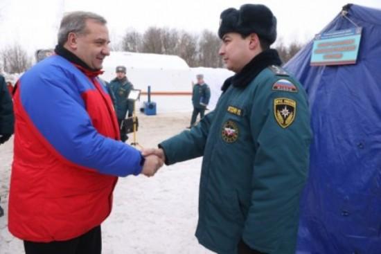 Глава МЧС Владимир Пучков с рабочей поездкой побывал в Рыбновском районе